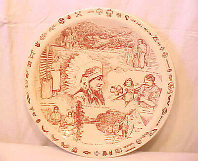 Vernon Kilns Plate Life on the Cherokee Indian Reservation, NC chief Blue Cloud