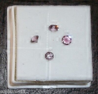 1 Carat Parcel of 4 Pink Round Faceted Spinel Stones ~.25 ct Each, 4 mm Loose