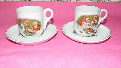ROYAL BAYREUTH 1794 BAVARIA GERMANY CHILDREN'S CATS/DOGS TEA CUPS/SAUCERS SET