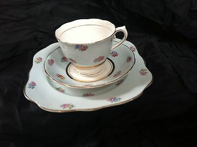 Colclough England Tea Cup Saucer And Plate Mint Green With Rose Flower Pattern