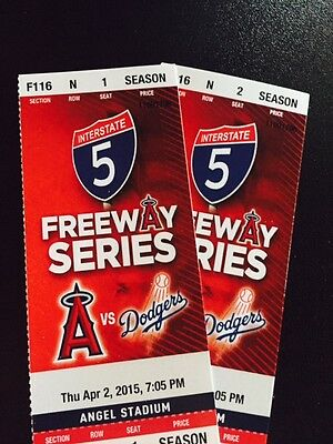 2 TIX Los Angeles Angels v Los Angeles Dodgers 4/2 Angel Stadium Diamond Club!!