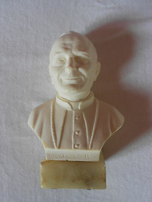 Bust of Pope Giov. PAOLO II Genuine Alabaster Hand Carved Made in Italy 6'' X 4'