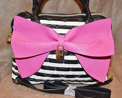 Betsey Johnson Be Mine Bow Satchel - Black, White, Pink - NEW!  Reduced To Sell