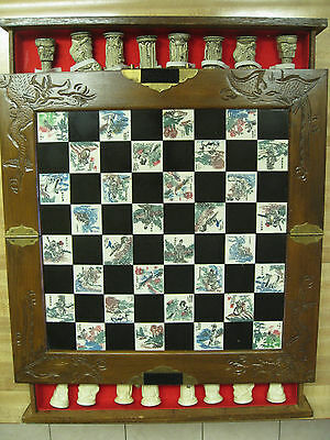 CHESS SET Vintage Oriental  - Carved Wooden Case w/Brass Handled Drawers
