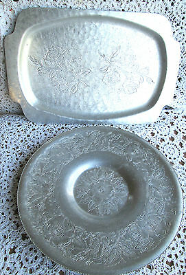 Vintage TWO HAND WROUGHT ALUMINUM LG ROUND AND RECTANGLE TRAYS FLOWER DESIGN