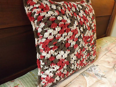Vintage Afghan Hand Crochet Accent Pillow COUNTRY Shabby Cottage Cabin chic