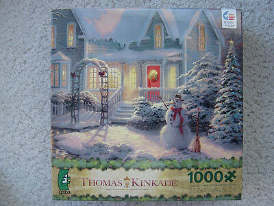 THOMAS KINKADE 1000 HOLIDAY BLESSINGS snow Christmas snowman jigsaw puzzle 2013