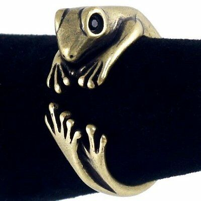 #R337B Intricate Adorable Frog Cute Animal Ring Crystal Eyes New US Size7