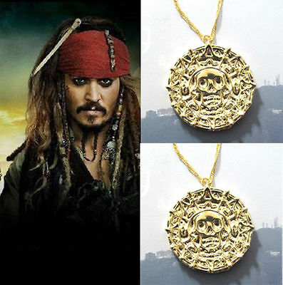 usa AZTEC dual GOLD COIN NECKLACE Jack Sparrow Ship Pirate Caribbean movie chain