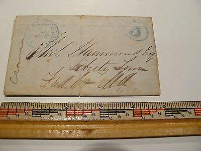 Rare 1840 or 1850 era Stampless Cover to Liberty Town MD. from Cumberland MD.