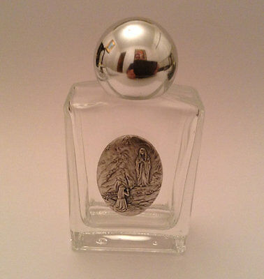 "Our Lady of Lourdes Glass Holy Water Bottle 3.35"" Inch Made in Italy"