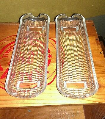 Vintage set of 2 glass Corn On The Cob holders serving dishes
