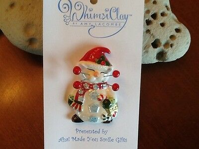 WhimsiClay Amy Lacombe Flurry Cat Lapel Pin Broach.