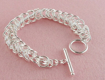 Fashion 925 sterling silver shiny attractive elegant unsex's TO chain bracelet