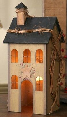 Primitive Country Electric Light Tan Wood Saltbox House New