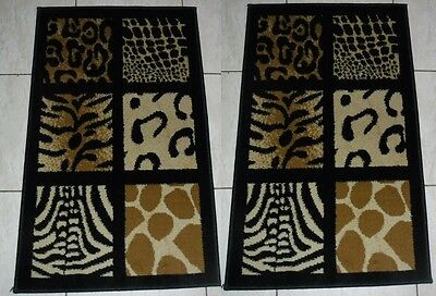 2X New Multi  Animal Print Heatset Runner Floor Rug/mat 50X80Cm
