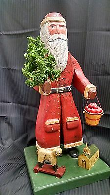 Primitive Folk Art Santa Father Christmas Wood Country Vintage Statue