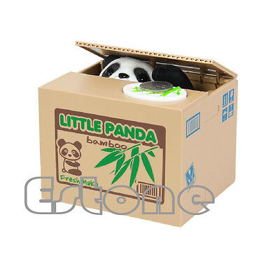 Cute Lovely Panda Itazura Kitty Cat Automated Steal Coin Piggy Bank Savings Box