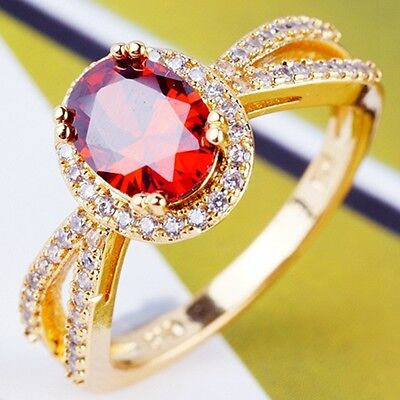 Gorgeous Wedding Jewelry C.Z Women Lady Real 18K Gold Plated Rings W0016 Size 7