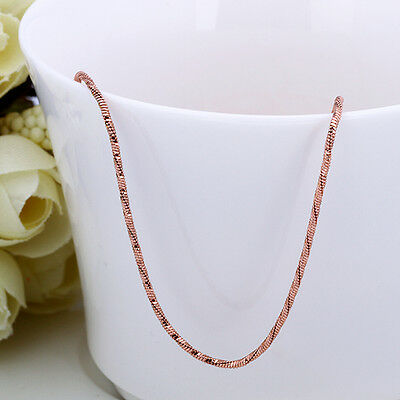 Free Shipping! Beautiful Womens 18K Rose Gold Plated / 18K RGP Necklace Chain 28