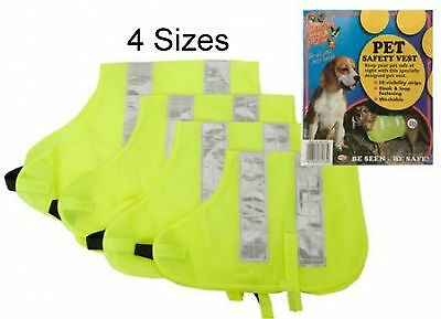Dog High Visibility Safety Jacket Vest Walking Coats Yellow Hi Vis Viz Winter