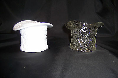Fenton Daisy & Button Milk Glass and Crystal Top Hat Topper