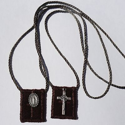 Small Brown Wool Catholic Scapular + St. Benedict Crucifix & Miraculous Medal