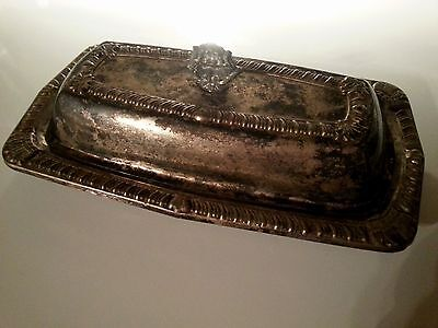 Antique Silver Plate BUTTER DISH w/ Lid and Glass Insert by HERALD Silverplate