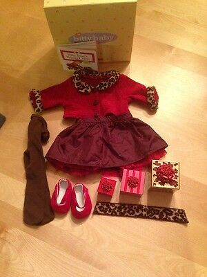 EUC American Girl Bitty Baby Chocolate Cherry Sweater Skirt Shoes Tights Gifts