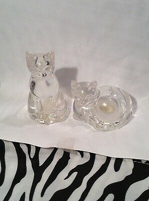 Gorham Lead Crystal Cat Salt and Pepper Shakers