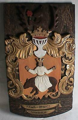 Vintage Large Polish Hand Carved Wood Plaque Coat of Arms Rawicz Signed