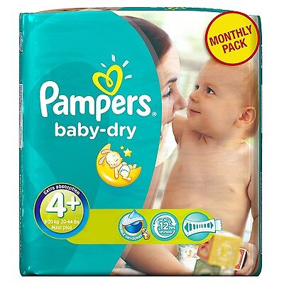 Pampers Baby Dry Size 4+ Maxi Plus Monthly Pack - 152 Nappies