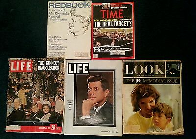 JFK - 5 Historic Magazines from 1961 63 64 & 88 Life - Look - Time