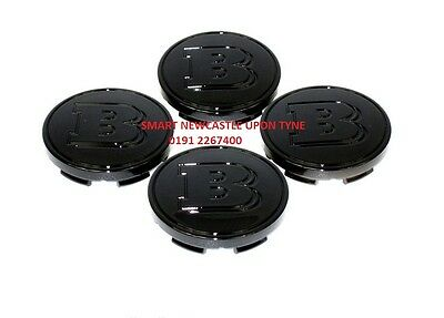 Genuine Smart Fortwo Forfour Set Of 4 Black Brabus Hub Alloy Wheel Centre Caps