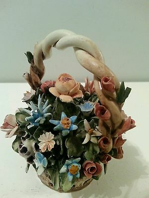 CAPODIMONTE SMALL BASKET OF FLOWERS - MADE IN ITALY