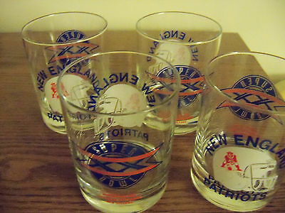 4 vintage NEW ENGLAND PATRIOTS SUPER BOWL XX Collectible drink Glasses