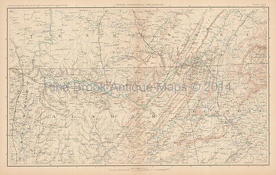 North Carolina Georgia Civil War Antique Map 1895 Original