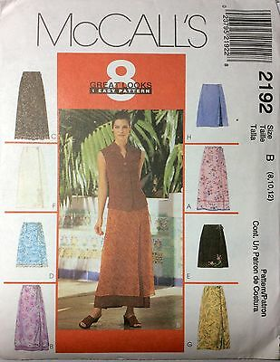 NEW MCCALL'S 2192 pattern sizes 8, 10, 12 Wrap Skirts 8 Great Looks