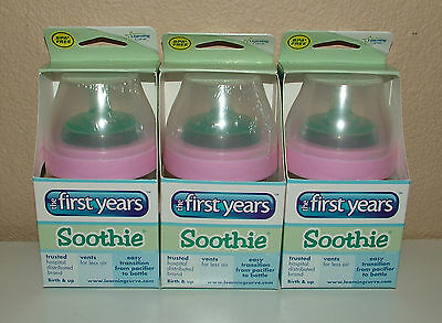 The First Years SOOTHIES Set of 3 x 5oz bottles NEW pink ring