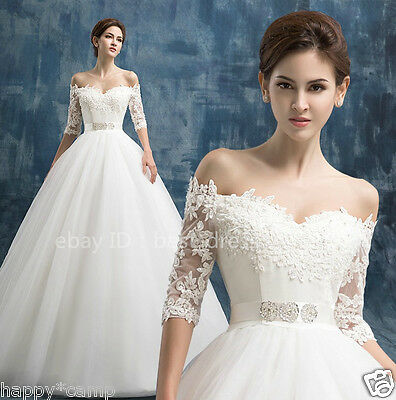 2015 New white/ivory Lace Wedding Dress Bridal Gown Custom Size 6-8-10-12-14-16