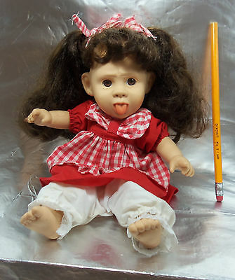"""VINTAGE GI GO TOY 11"""" BABY DOLL ORIGINAL DRESS SOFT BODY SPOILED MAD TONGUE OUT"""
