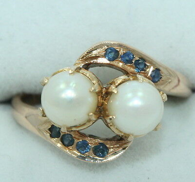 Ladies ~ VINTAGE ~ 14K Gold ~ 5.9 mm Double PEARL Ring w/ SAPPHIRES ~ Size 6.5