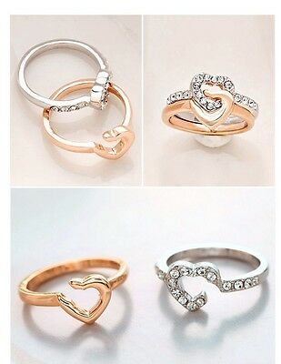 Free Shipping Womens 9K Rose & White Gold Filled AAA CZ Heart Lovers Ring Y-I63