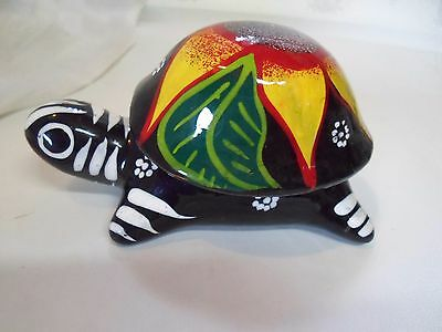Turtle dish with lid hand painted Red Clay Made in Mexico