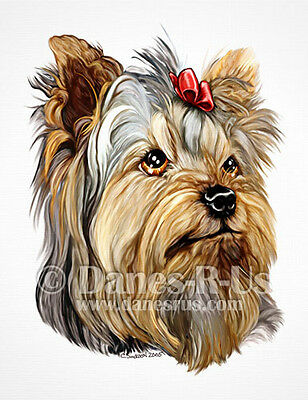 Yorkshire Terrier Dog Art Yorkie Bust Red Bow Greeting Note Cards Set of 10