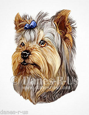 Yorkshire Terrier Dog Art Yorkie Bust Blue Bow Greeting Note Cards Set of 10