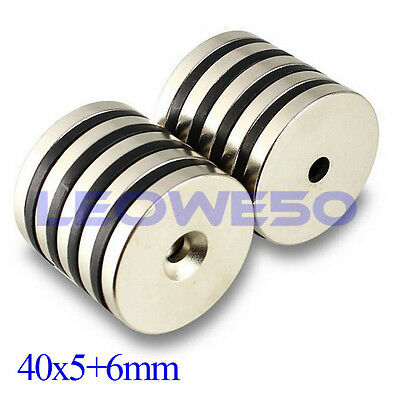 1/5/10 x Round Magnet 40x5mm with 6mm Hole Rare Earth Neodymium Magnet N738