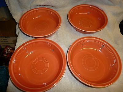 """Set of 4 Orange or Tangerine Cereal or Soup Fiesta Bowls Great Condition 7"""""""