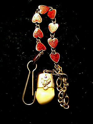 VINTAGE BPOE RED HEART WATCH FOB WITH 10KT GOLD ELKS PIECE  MUST SEE