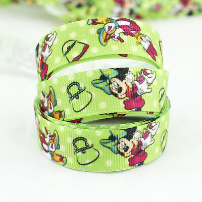 Pretty Disney 20Yards 5/8 printed Donald Duck and Mickey Mouse Grosgrain Ribbon